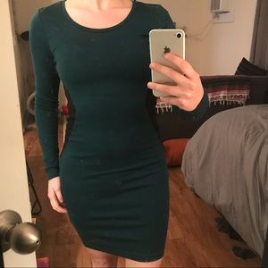 Figure flattering green and black dress